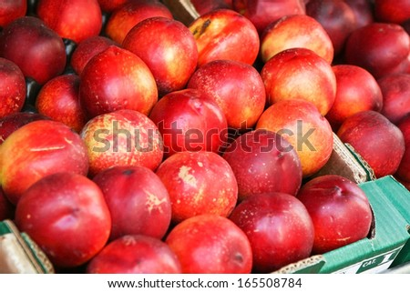 Nectarines on the market in Normandy. France