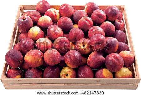 Nectarines sweet fruit in the box