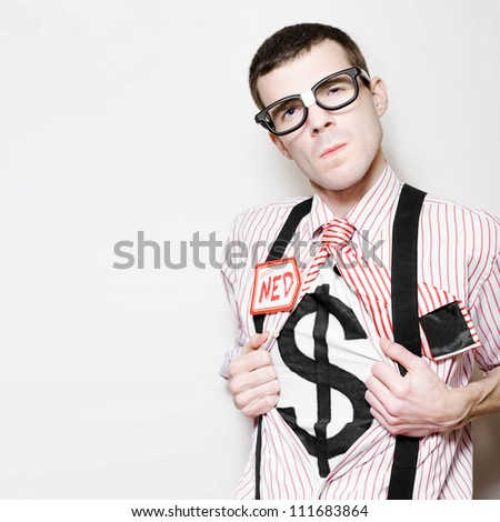 Ned The Nerdy Business Man Opening Shirt Buttons To Reveal Dollar Sign In A Depiction Of A Superhero Leading A Corporation To Success - stock photo