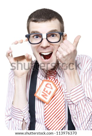 Ned The Sales Man Nerd Giving Thumbs Up For A Discount Deal While Holding Business Card Isolated On White Background