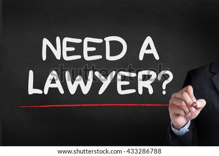 Need a lawyer? Businessman drawing Landing Page on blackground - stock photo