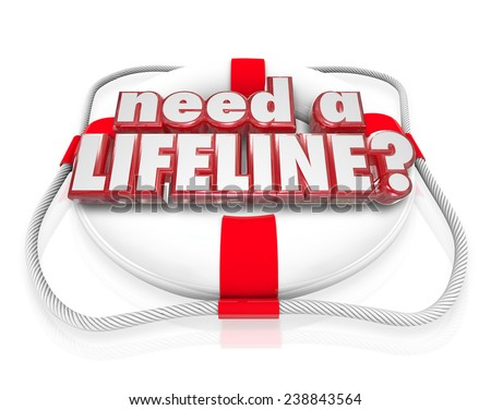Need a Lifeline question on a life preserver to illustrate someone desperate for aid, assistance, service, support, help or saving - stock photo