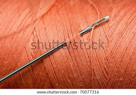 needle and bobbin thread macro - stock photo