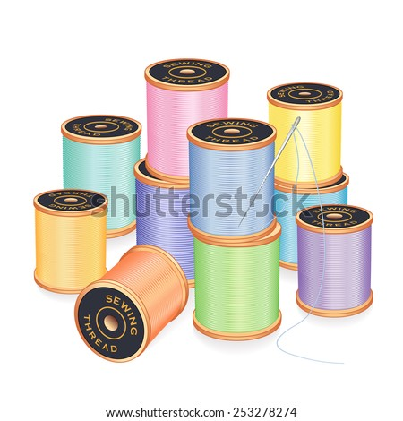 Needle and Threads, silver needle, 12 spools of thread in pastel colors isolated on white background for sewing, tailoring, quilting, crafts, needlework, do it yourself projects.  - stock photo