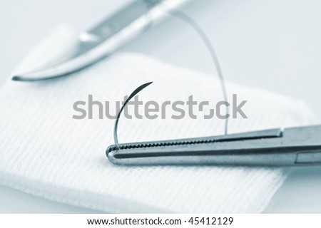 Needle Holder Holding Cat Gut Suture