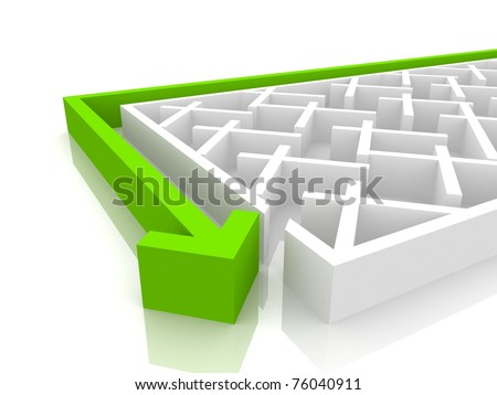 needle passes close to the labyrinth - stock photo