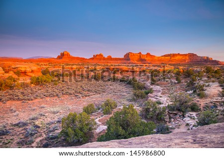 Needles District at Sunset as Seen from the Pathole Point Overlook  - stock photo