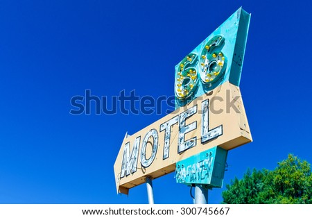 Needles, U.S.A. - May 27 2011: California, a Motel sign on the Route 66