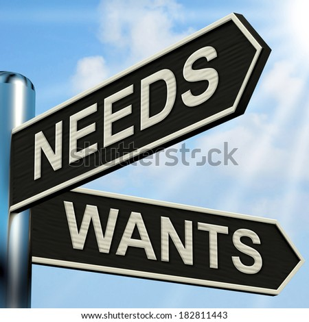 Needs Wants Signpost Meaning Necessity And Desire