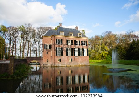 Neerijnen Castle in the village Neerijnen, the Betuwe, the Netherlands  - stock photo