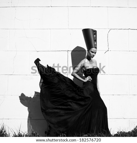 Nefertiti, Queen of Egypt. Stylized fashion shoot. Outdoors shot - stock photo