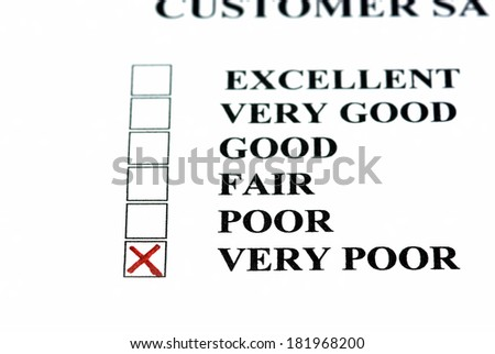 Negative comment on customer satisfaction form: very poor. - stock photo