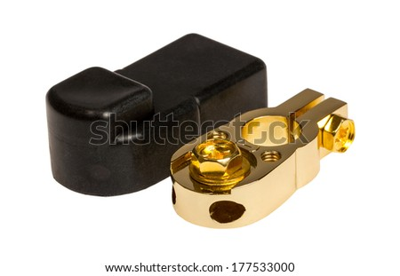 Negative contact terminal CAR battery isolated on a white background. - stock photo