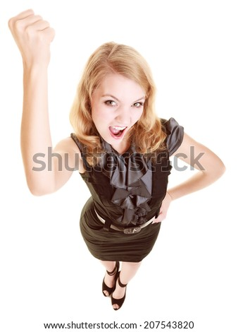 Negative emotions. Angry mad businesswoman crazy boss furious woman shaking fist at you isolated on white. Threat. - stock photo