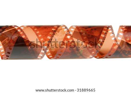 Negative film isolated on white background with clipping path.