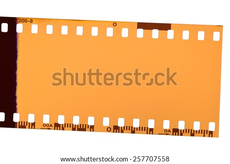 Negative film on white background. Above view. - stock photo