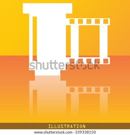 negative films icon symbol Flat modern web design with reflection and space for your text. illustration. Raster version - stock photo