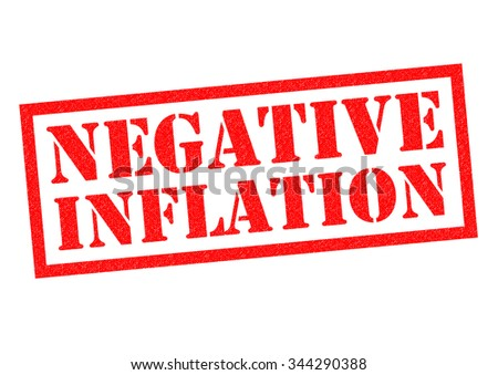 NEGATIVE INFLATION red Rubber Stamp over a white background. - stock photo