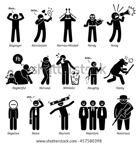 Negative Personalities Character Traits. Stick Figures Man Icons. Starting with the Alphabet N. - stock photo