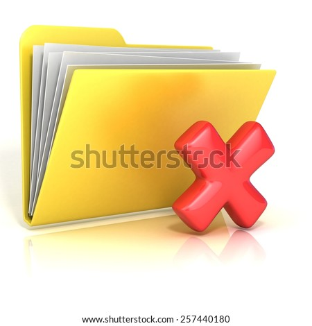 Negative, red check mark folder icon, 3D render illustration, isolated on white background - stock photo