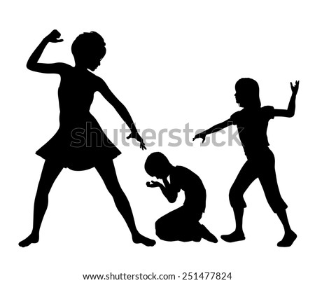 Negative Role Model for Kids. Concept sign of woman with negative influence on child through her aggressive behavior - stock photo