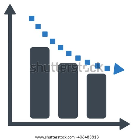 Negative Trend glyph toolbar icon. Style is bicolor flat icon symbol, smooth blue colors, white background, square dots.