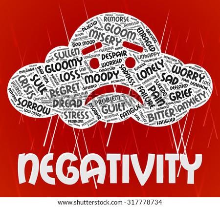 Negativity Word Indicating Dissentt Negatives And Negative - stock photo
