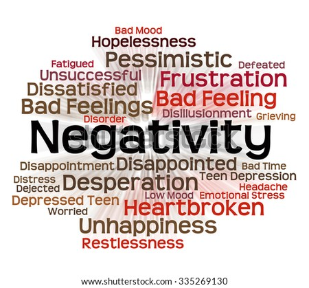 Negativity Word Indicating Wordcloud Wordclouds And Text - stock photo