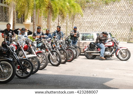 Negeri Sembilan, Malaysia - May,2015: Hundreds of motorcyclists are join a charity convoy at Jelebu, Negeri Sembilan. Organised by local bikers club to collect some money for help orphan house