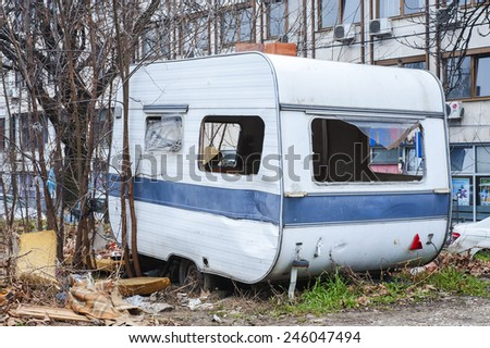 neglected camping trailer