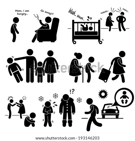 Neglected Child Negligence Abuse Stick Figure Pictogram Icon Cliparts
