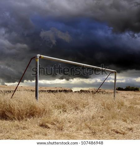 Neglected football field - stock photo