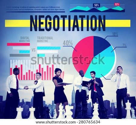 Negotiation Agreement Contract Marketing Business Concept - stock photo
