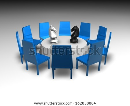 negotiation, business meeting with table and chess concept illustration
