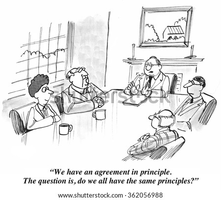 Negotiation cartoon.  The group have an agreement in principle, but do they all have the same principles? - stock photo