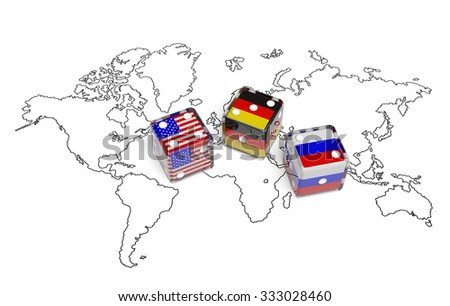 Negotiation political concept: dices with flags of USA, Germany and Russia on the world map symbolize foreign affairs, summit of countries, state interests, discussion on global issues - stock photo