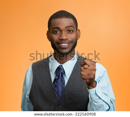 Negotiation process failed request declined. Portrait Business man showing thumb finger figa gesture you get zero nothing isolated orange background. Negative emotion facial expression body language  - stock photo