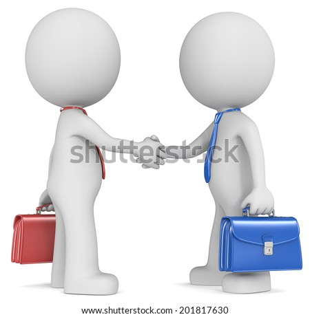 Negotiation. The Dude X 2 shaking hands, blue and red side . - stock photo