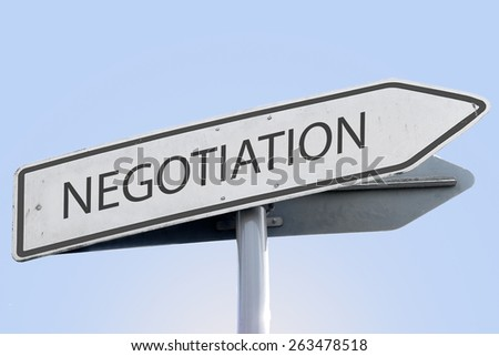 NEGOTIATION word on road sign - stock photo