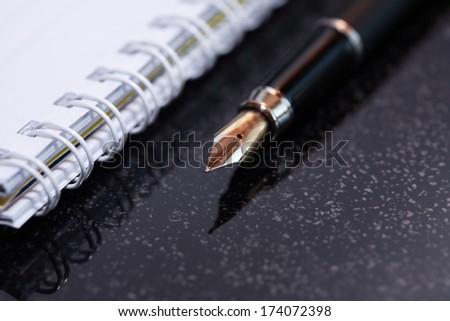 Negotiations concept. Closeup of nice fountain pen near open spiral notebook - stock photo