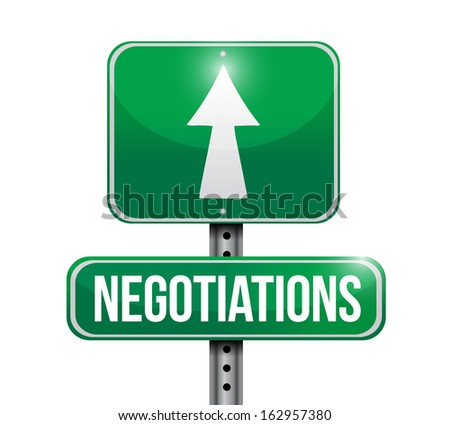 negotiations road sign illustration design over a white background - stock photo
