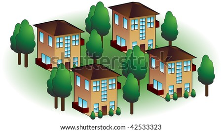 Neighborhood apartments isolated on a white background.