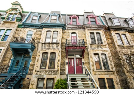 Neighborhood house in Montreal in full color. - stock photo