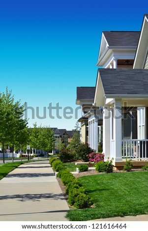 Neighborhood of Newly Constructed Homes - stock photo