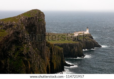 Neist Point lighthouse in Isle of Skye in  Scotland, UK