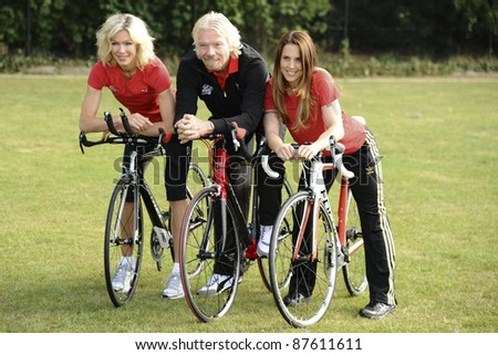 Nell McAndrew, Richard Branson and Melanie C at the launch of the Virgin Active London Triathlon celebrity team, Acton, London. 07/06/2011  Picture by: Steve Vas / Featureflash - stock photo