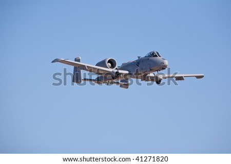 NELLIS AFB, LAS VEGAS, NV - NOVEMBER 14: Fairchild-Republic A-10 Thunderbolt II ground-attack aircraft performs at Aviation Nation 2009 on November 14, 2009 in Nellis AFB, Las Vegas, NV. - stock photo