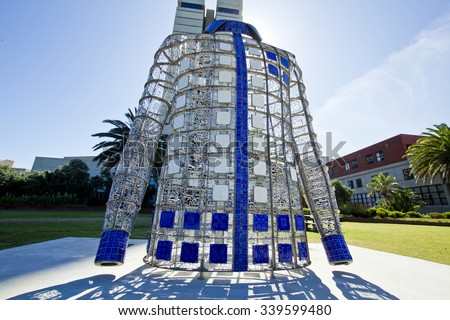 Nelson Mandela Bay University Port Elizabeth South Africa 4 November 2015- A piece of artwork made in the form of a shirt that Madiba wore during his life   - stock photo