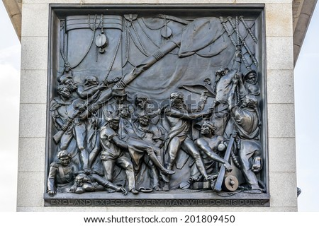 Nelson's Column - a monument in Trafalgar Square in central London built to commemorate Admiral Horatio Nelson, who died at the Battle of Trafalgar in 1805. - stock photo