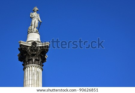 Nelson's Column rises to nearly 185 feet in the centre of Trafalgar Square and was erected to celebrate his great victory at Trafalgar over Napoleon in 1805